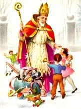 Sf Nicolae oferind daruri copiilor