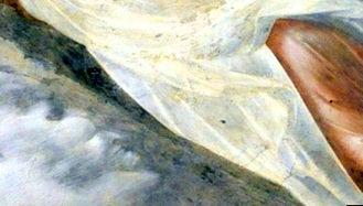 Chipul diavolului cu un râs malefic, într-un nor pictat în bazilica Sf.Francisc din Assisi
