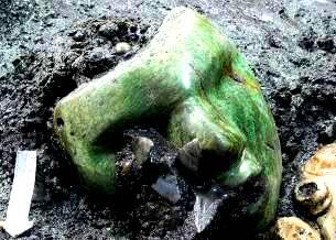 O mască verde misterioasă a fost descoperită sub Piramida Soarelui din Mexic. Sper să stea departe de Jim Carey...