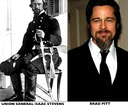 Marele actor Brad Pitt a călătorit în timp cu 150 de ani în urmă şi a devenit generalul american Isaac Stevens?