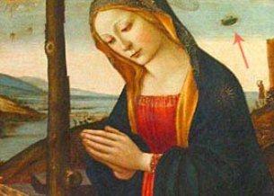 """Un OZN şi doi extratereştri apar în tabloul """"Madonna cu pruncul şi Sf.Ioan Botezătorul copil"""", vechi de peste 6 secole"""