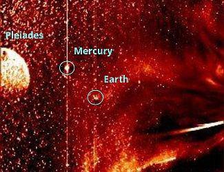 """Satelitul SOHO a surprins un """"gigant artefact circular"""" ce seamănă cu """"planeta X"""". Cei de la accuweather.com cred că este vorba de un """"lens flare"""" produs de nişte stele din Pleiade! Penibil..."""