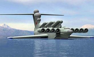 """Ekranoplan, o """"aeronavă maritimă"""" monstruoasă construită de sovietici! A fost cel mai mare secret al URSS în timpul comunismului..."""