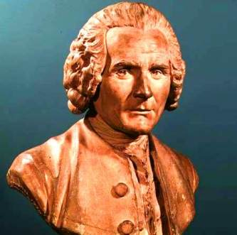 XIR43751 Bust of Jean-Jacques Rousseau (1712-78) (terracotta) by Houdon, Jean-Antoine (1741-1828) terracotta Musee Lambinet, Versailles, France Lauros / Giraudon French, out of copyright