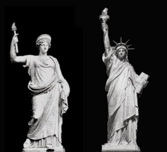 Statuia Libertas (stanga) - Statuia Libertatii (dreapta)
