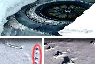 Google Earth dezvăluie ceva şocant în Antarctica: un OZN uriaş căzut în gheţuri, spre care sunt îndreptate 4 tancuri mari! Eroare fotografică sau ce naiba...!?