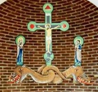 """La muzeul Mitropoliei din Iaşi apar doi balauri (simbolul Satanei) care îi """"sprijină"""" pe Iisus Hristos şi pe încă doi sfinţi! O greşeală a pictorului sau se vrea a se transmite un mesaj ascuns?"""