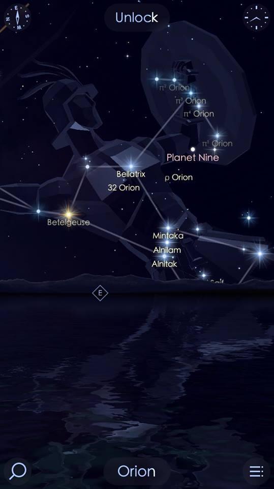 """Planeta 9"" pe Google Sky Map"