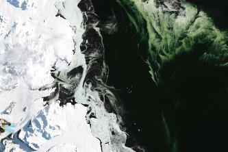 Antarctica devine şi mai ciudată: o gheaţă verde a fost fotografiată de NASA din satelit