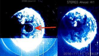 """O imensă sferă albastră apare în faţa Soarelui. OZN gigantic, proiectul """"Blue Beam"""", sfârşitul lumii sau eroare fotografică?"""