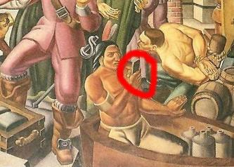 Călătorie în timp? Într-un tablou din anii 1930 se observă un amerindian care ţine în mână un smartphone!