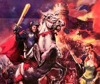 Cum războinicii saxoni au fugit mâncând pământul când au văzut două nave extraterestre roşii deasupra cetăţii pe care o asediau...