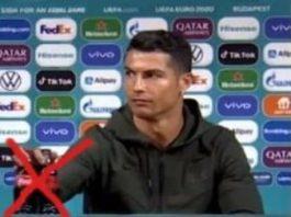 Celebrul fotbalist Ronaldo a dat cu flit băuturilor Coca-Cola la Campionatul European de Fotbal UEFA 2020, provocând astfel o pierdere de 4 miliarde de dolari corporaţiei americane!